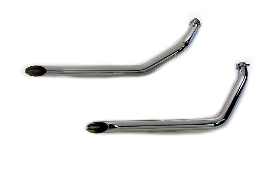 "Chrome 1970-1984 FXE 1-3/4"" Goose Style Harley Drag Pipes"
