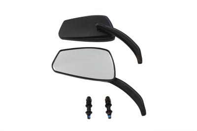Black Rectangle Mirror Set with Billet Stems