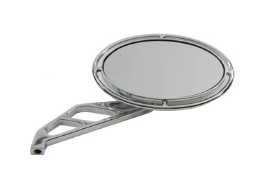 Chrome Billet Oval Mirror w/ Ring and 3 Slot Stem