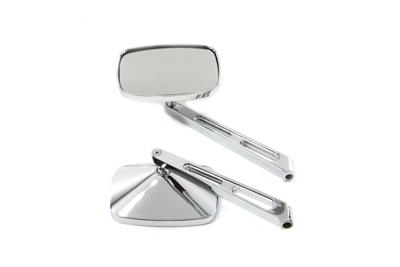 Chrome Rectangular Mirror Set with Slotted Stems