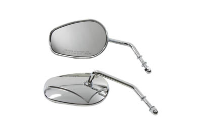 Chrome Rectangle Mirror Set with Round Stems for 1965-up Models