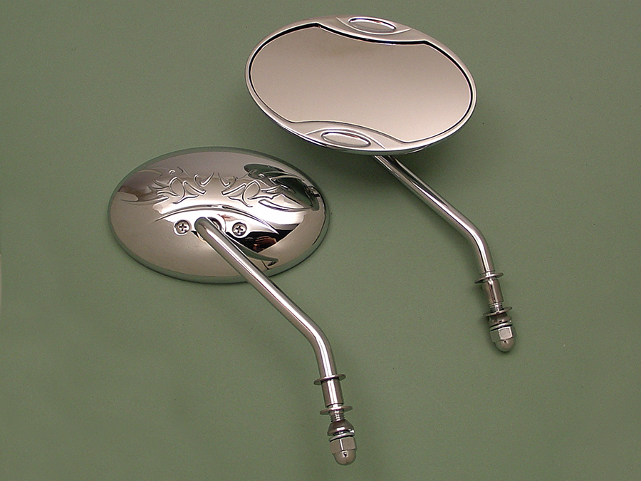 Chrome Angle Stem Oval Mirrors Set for Harley & Choppers