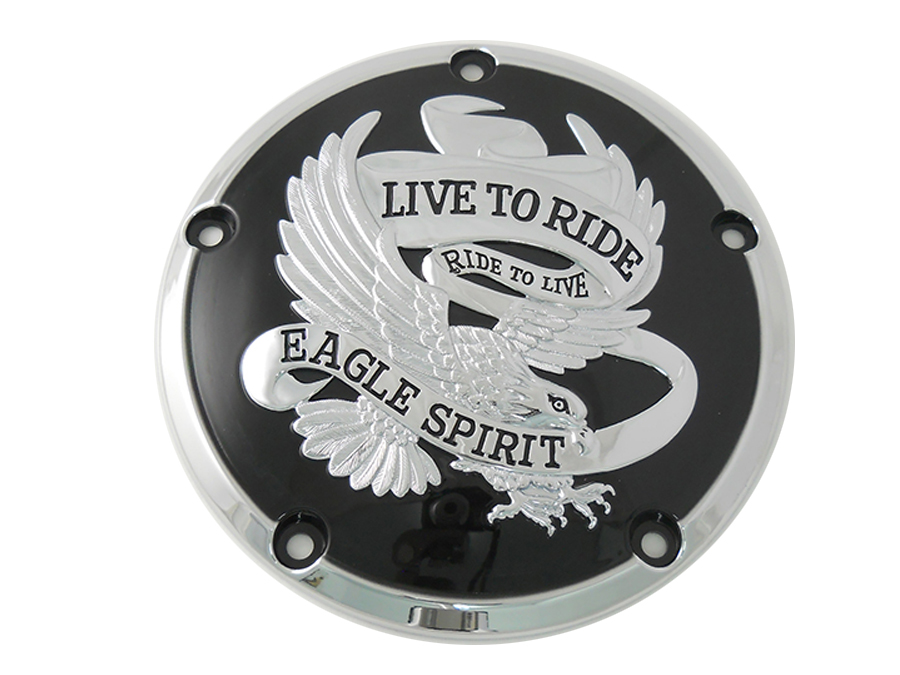 Black w/ Chrome Eagle Spirit 5-Hole Derby Cover for 1999-UP Big Twins