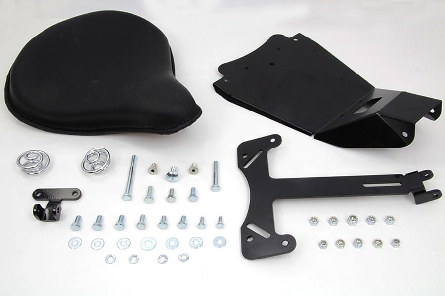 Black Leather Solo Seat and Mount Kit