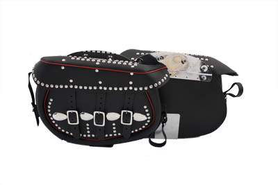 Black Leather Saddlebags With Red Trim for 1936-57 EL & FL