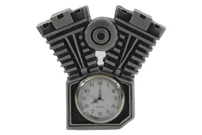 "V-Twin Pewter Motorcycle Clock 3-1/2"" Tall"