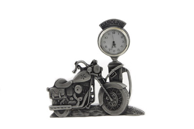 "V-Twin Pewter Motorcycle Clock 4-1/2"" Tall"