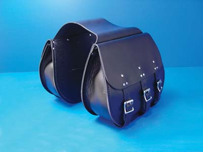 Leather 3 Buckle Thro-Over Saddlebags Black