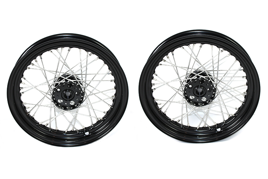 "18"" Rear G 1937-1950 Wheels with Black Hub, Rim, Stainless Spokes"