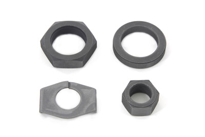 Parkerized 1930-72 Big Twins Rear Axle Nut and Lock Kit